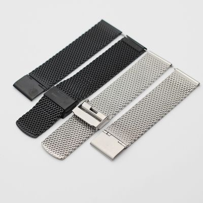 Stainless Steel Mesh Watch Band Penggantian Black Bracelet 14/18 / 20mm