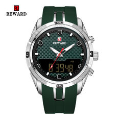 Cina grosir Led Display Sport Mens Stainless Steel Jam Tangan Alloy Case Dengan Silicon Band
